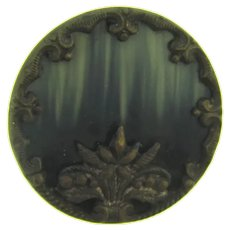 Vintage early metal Button with flower basket design