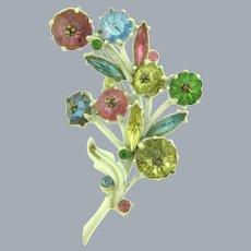 Vintage floral white enamel Brooch with multi colored rhinestones