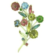 Vintage floral white enamel Brooch with multi colored rhinestones