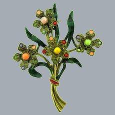 Vintage 1940's pot metal floral spray Brooch enamel and beads