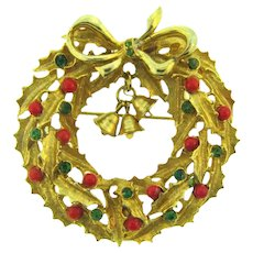 Signed ART large figural Christmas Wreath Brooch with bells, beads and rhinestones