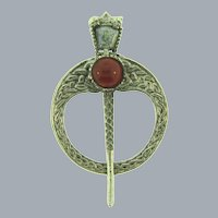 Vintage Celtic silver tone Brooch with glass stones
