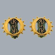 Signed Renoir copper clip-on Earrings