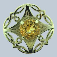 Marked Scotland Celtic silver tone Brooch with large citrine rhinestone