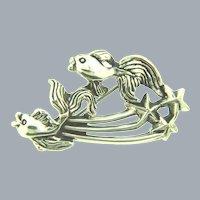 Signed Tortolani silver tone figural fish Brooch