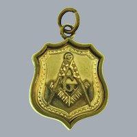 Vintage Masonic Freemason double sided gold filled Pendant/Watch Fob