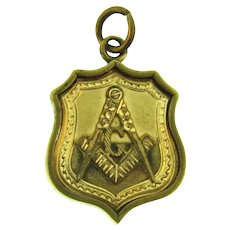 Vintage Masonic Freemason double sided gold filled Pendant/Watch Fob