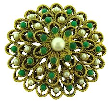 Vintage tiered gold tone Brooch with green beads and imitation pearls