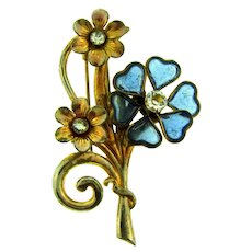 Vintage floral Fur Clip with crystal rhinestones and blue glass petals