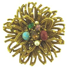 Signed Capri unusual gold tone Brooch with rhinestones, cabochons and faux pearls