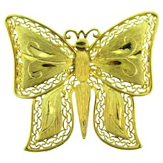 Vintage figural butterfly gold tone Brooch