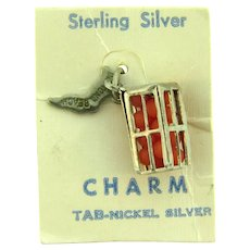 Marked Sterling silver Daytona Beach Charm with crate of oranges ( beads)