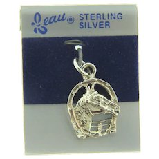 Signed Beau sterling silver equestrian themed NOS Charm