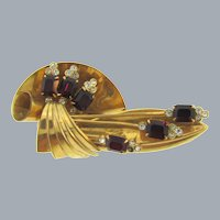 Vintage Art Deco Brooch with red and crystal rhinestones