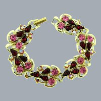 Vintage leaf link Bracelet with pink, red and AB rhinestones
