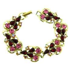 Vintage leaf link Bracelet with pink, red and AB rhinestones