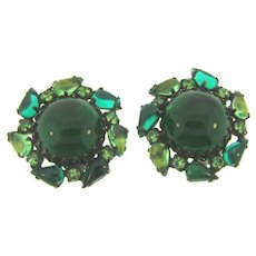 Signed Weiss large rhinestone clip-on Earrings in shades of green