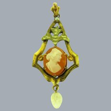 Vintage lavalier Pendant with small shell cameo and molded glass drop