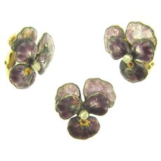 Vintage Pansy Brooch and matching clip-on Earrings.