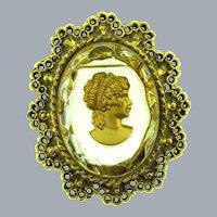 Vintage large gold tone Intaglio Cameo Brooch