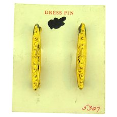 Vintage NOS Dress Pins with a repousse design on original card