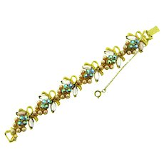 Signed Florenza link Bracelet with faux pearls and rhinestones