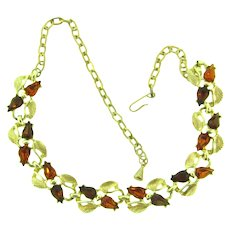 Vintage gold tone link choker Necklace with topaz rhinestones