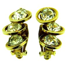 Signed Judy Lee gold tone clip-on Earrings with crystal rhinestones