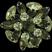 Vintage circular tiered dimensional Brooch with smoky and crystal rhinestones