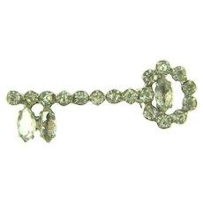 Vintage figural key Brooch with crystal rhinestones