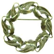 Signed A&Z Sterling silver circular leaves Brooch