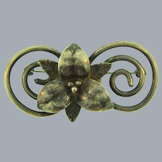 Sterling silver orchid flower Brooch