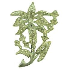 Vintage pot metal large floral Brooch with crystal rhinestones