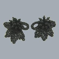 Vintage black beaded and sequin Shoe Clips