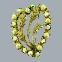 Signed Har floral Brooch with faux pearls and AB rhinestones