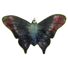 Vintage enamel over copper colorful Butterfly Pendant