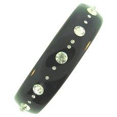 Vintage Lucite black Bangle Bracelet with crystal rhinestones