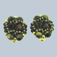 Made in W Germany beaded glass clip-on Earrings in brown tones