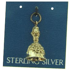 NOS sterling silver marked 925 figural bell Charm