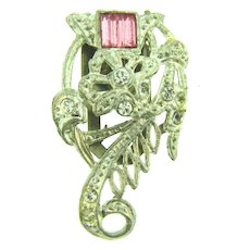 Vintage Art Deco silver tone pot metal Dress Clip with pink Vauxhall glass and crystal rhinestones