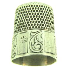 Signed Simons sterling silver size 10 Thimble
