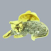Vintage small figural cat Lapel Pin with crystal rhinestones