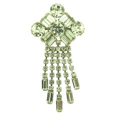 Vintage crystal rhinestone large Brooch with dangles
