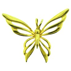 Vintage figural gold tone Butterfly Pendant