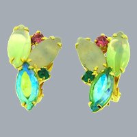 Vintage 1960's rhinestone clip-on Earrings with multicolored stones