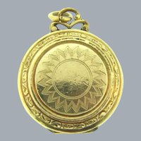 Signed 1/20th 12KT gold filled Hayward small Locket with chased design