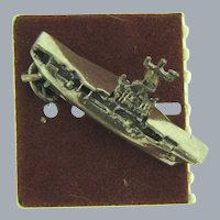 Signed Beau Sterling Silver Aircraft Carrier Ship Charm