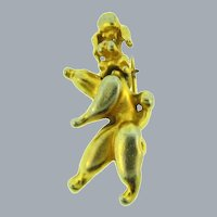Vintage figural poodle dog Scatter Pin with moving head