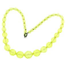 Vintage light yellow crystal bead Choker Necklace