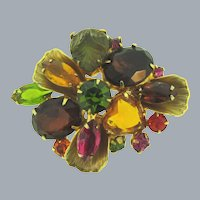 Lovely vintage floral rhinestone Brooch in fall shades